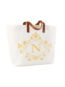 ElegantPark N-Initial 100% Jute Tote Bag with Handle and Interior Pocket