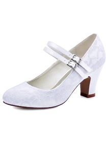 ElegantPark Ivory Round Toes High Heels Pumps Lace Wedding Bridal Shoes