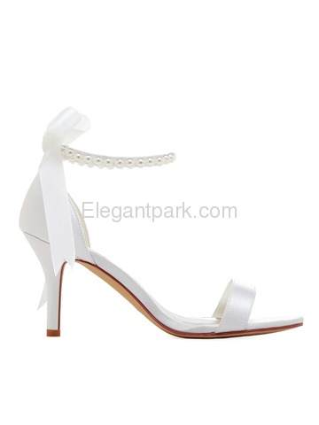 EP11053N Women Sandals High Heel Pearls Ankle Strap Satin Bridal Wedding Shoes (EP11053N)