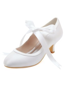 HC1803 White Almond Toe Mid Heel Lace Bridal Wedding Party Shoes
