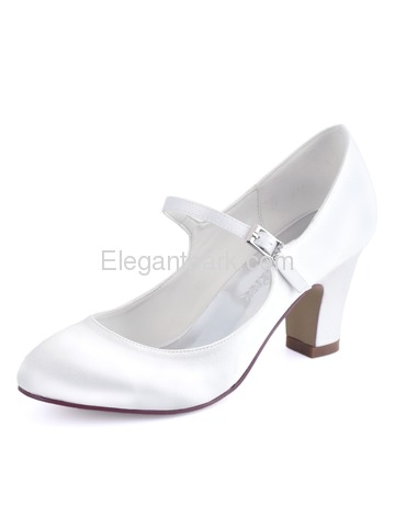 HC1801 Ivory Round Toes High Heels Pumps Satin Wedding Bridal Shoes (HC1801)