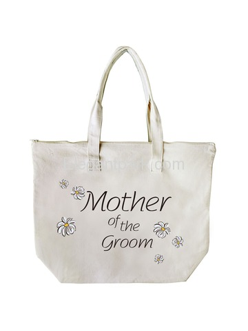 ElegantPark Mother of Groom Wedding Canvas Tote Bag Travel Daisy Zip Interior Pocket 100% Cotton 1 P