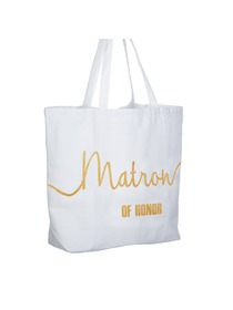 Matron of Honor Tote Bag Wedding Bridesmaid Gifts 100% Cotton Canvas White and Gold Glitter