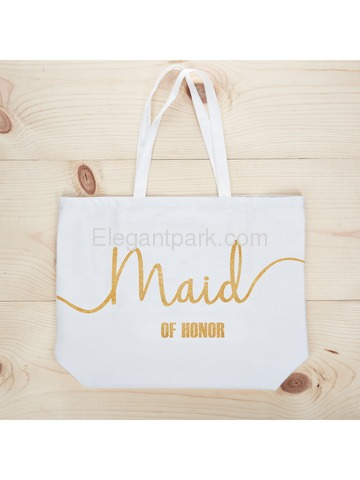 Maid of Honor Tote Bag Wedding Bridesmaid Gifts White with Gold Glitter 100% Cotton Canvas