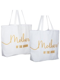 Mother of the Bride+Groom Tote Bag for Wedding Gifts Canvas 100% Cotton White with Gold Glitter 2 Pc