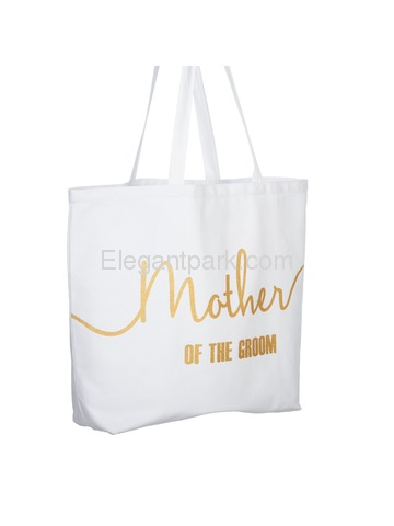 Mother of the Groom Tote Bag for Wedding Gifts Canvas 100% Cotton White with Gold Glitter