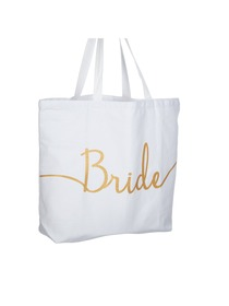Bride Tote Bag Wedding Bridal Shower Gifts Canvas 100% Cotton Interior Pocket WhiteGold Glitter