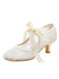 HC1702 White Almond Toe Mid Heel Lace Bridal Wedding Party Shoes