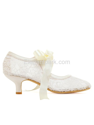 HC1702 White Almond Toe Mid Heel Lace Bridal Wedding Party Shoes (HC1702)