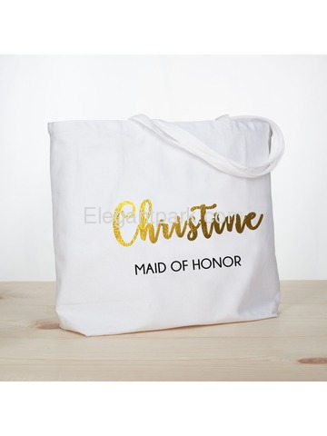 PERSONALIZED Gold Foil Maid of Honor Tote Wedding Gift White Shoulder Bag 100% Cotton …