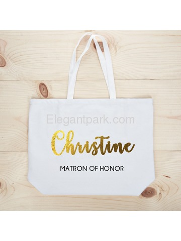 PERSONALIZED Gold Foil Matron Tote Wedding Gift White Shoulder Bag 100% Cotton …