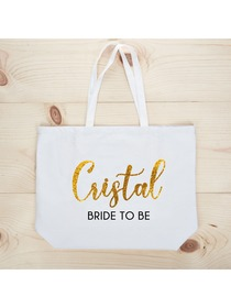 PERSONALIZED Gold Glitter Bride-to-be Tote Wedding Gift White Shoulder Bag 100% Cotton …