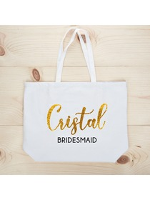 PERSONALIZED Gold Glitter Bridesmaid Tote Wedding Gift White Shoulder Bag 100% Cotton …