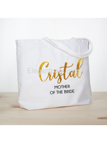 PERSONALIZED Gold Glitter Mother-bride Tote Wedding Gift White Shoulder Bag 100% Cotton …