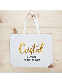 PERSONALIZED Gold Glitter Mother-groom Tote Wedding Gift White Shoulder Bag 100% Cotton …