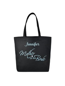 PERSONALIZED Aqua Embroidered Mother-bride Tote Wedding Gift Black Shoulder Bag 100% Cotton