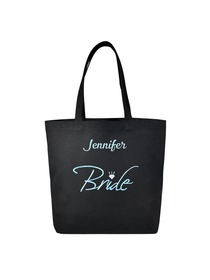 PERSONALIZED Aqua Embroidered Bride Tote Wedding Gift Black Shoulder Bag 100% Cotton