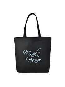 Maid of Honor Heavy Tote Bag Wedding Bridal Shower Gift Canvas 100% Cotton Black Aqua Embroidered