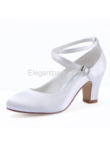 HC1808 Satin Closed Toe Chunky Heel Pumps Criss Corss Wedding Bridal Shoes (HC1808)