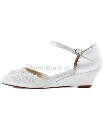 WP1716 Mid Heel Pumps Closed Toe Ankle Strap Satin Evening Prom Wedding Wedges (WP1716)