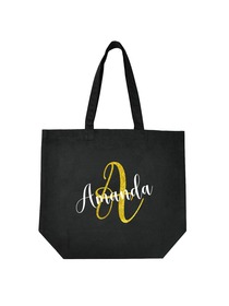 PERSONALIZED Initial A Monogram Wedding Tote Bridal Party Gift Black Shoulder Bag 100% Cotton …