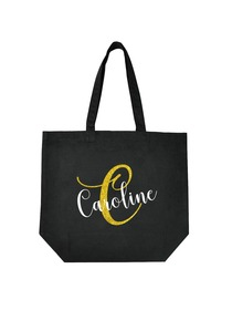 PERSONALIZED Initial C Monogram Wedding Tote Bridal Party Gift Black Shoulder Bag 100% Cotton …