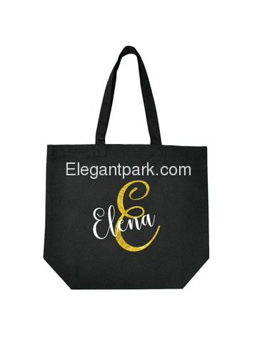PERSONALIZED Initial E Monogram Wedding Tote Bridal Party Gift Black Shoulder Bag 100% Cotton …