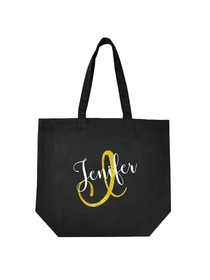 PERSONALIZED Initial J Monogram Wedding Tote Bridal Party Gift Black Shoulder Bag 100% Cotton …