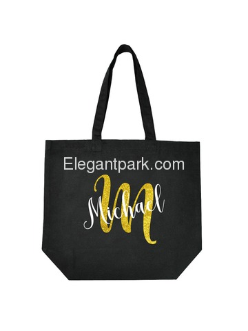 PERSONALIZED Initial M Monogram Wedding Tote Bridal Party Gift Black Shoulder Bag 100% Cotton …