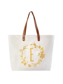 ElegantPark Reusable Tote Travel Luggage Shopping Bag with Interior Pocket 100% Cotton, Letter E