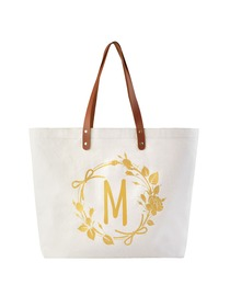 ElegantPark Large Reuseale Shopping Grocery Tote Bag with Interior Pocket 100% Cotton, Letter M