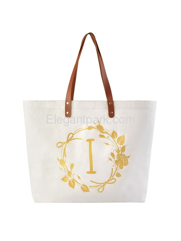 ElegantPark Reusable Tote Travel Luggage Shopping Bag with Interior Pocket 100% Cotton, Letter I