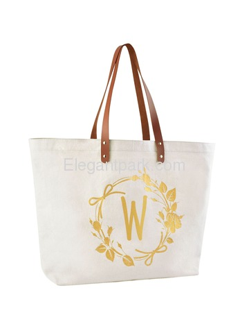ElegantPark Travel Luggage Shopping Tote Bag with Interior Pocket 100% Cotton, Letter W