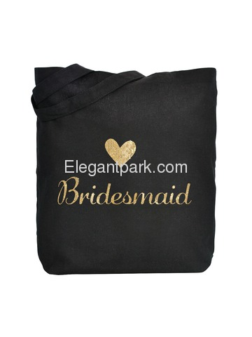 ElegantPark Bridesmaid Tote Bag for Wedding Favor Bachelorette Gifts 100% Cotton Black with Gold Gli