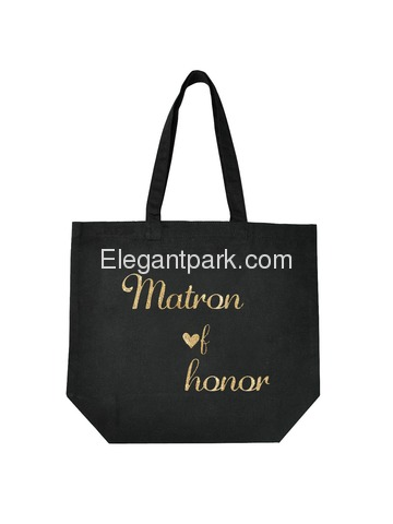ElegantPark Matron of Honor Tote Wedding Gifts Bridal Shower Bag 100% Cotton Black with Gold Glitter