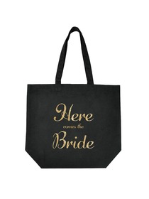 ElegantPark Here Comes the Bride Tote Wedding Favors Bridal Shower Gift Bag 100% Cotton Black with G