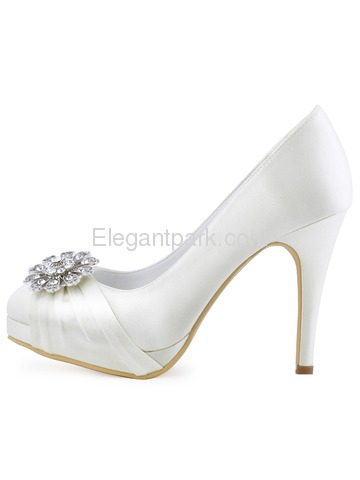 EP2015-PF-NW Women High Heel Platform Pumps Closed Toe Buckle Satin Bridal Wedding Shoes (EP2015-PF-NW)