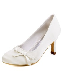 Elegantpark Ivory Round Toe Spool Heel Satin Bowknot Bridal Wedding Party Shoes