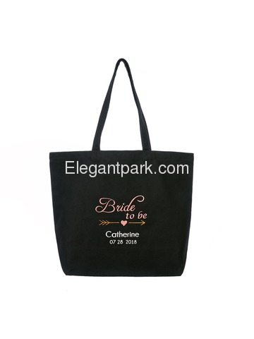 PERSONALIZED Pink Embroidered Bride to Be Tote Wedding Bachelorette Party Gift Monogram Black Should