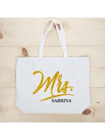 PERSONALIZED Mrs Wedding Bride Tote Bachelorette Party Gift Monogram Jumbo Shouler Bag White with G