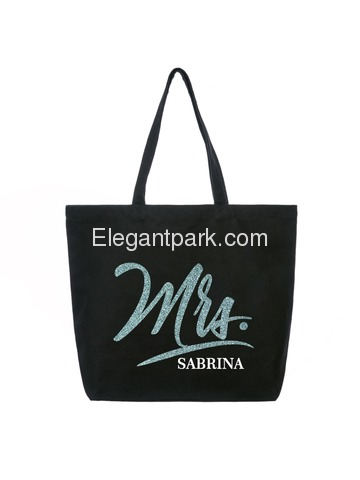 PERSONALIZED Mrs Wedding Bride Tote Bridal Shower Bachelorette Party Gift Jumbo Shoulder Bag Whit