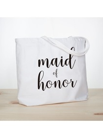 ElegantPark Maid of Honor Jumbo Tote Bag Wedding Bridesmaid Gifts White with Black Script 100% Cotto