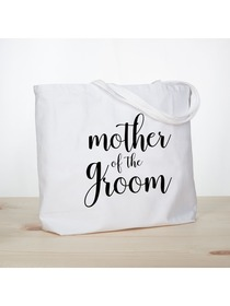 ElegantPark Mother of the Groom Jumbo Tote Bag for Wedding Gifts Canvas 100% Cotton Interior Pocket