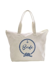 ElegantPark Loop Bride Tote Bag Wedding Bridal Shower Gifts Zip 100% Cotton
