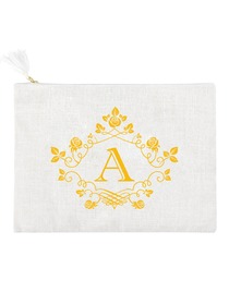 ElegantPark A Initial Monogram Makeup Bag Personalized Party Gift Clutch with Bottom Zip Jute