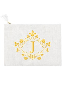 ElegantPark J Initial Monogram Makeup Bag Personalized Party Gift Clutch with Bottom Zip Jute