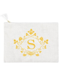 ElegantPark S Initial Monogram Makeup Bag Personalized Party Gift Clutch with Bottom Zip Jute