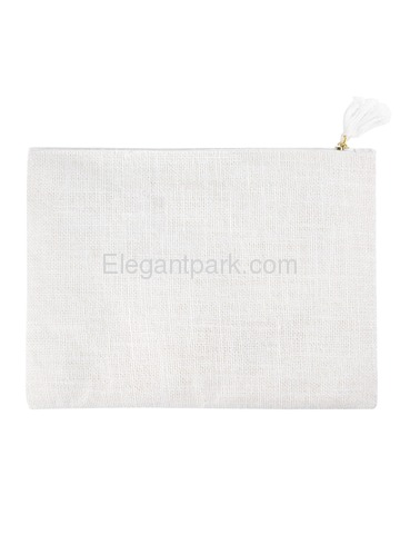 ElegantPark F Initial Monogram Makeup Bag Personalized Party Gift Clutch with Bottom Zip Jute