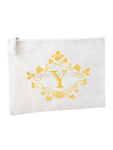 ElegantPark Y Initial Monogram Makeup Bag Personalized Party Gift Clutch with Bottom Zip Jute