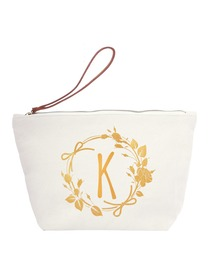 ElegantPark K Initial Monogram Makeup Cosmetic Bag Wristlet Pouch Gift with Bottom Zip Canvas